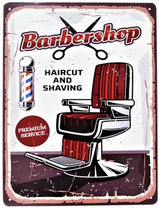 "2D bord ""Barber Shop, Haircut and Shaving"" 33x25cm"