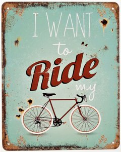 """2D bord """"I want to ride my"""" 25x20cm"""
