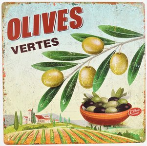 "2D bord ""Olives Vertes"" 30x30cm"