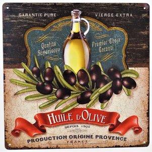 "2D bord ""Huile D'Olive, Production origine Provence"" 30x30cm"