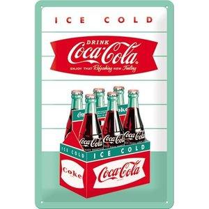 Coca Cola 6-pack flesjes 1960 20x30 cm