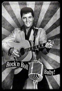 "3D bord ""Elvis Prestley Rock'n Roll Baby"" 20x30cm"