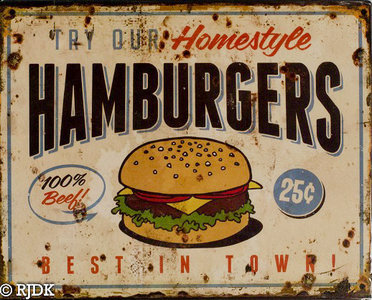 "2D bord ""Hamburgers"" 25x20cm"
