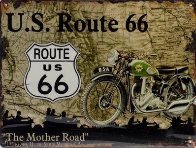 """2D bord """"U.S. Route 66 - The Mother Road"""" 25x33cm"""