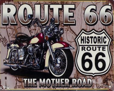 "2D bord ""Route 66 The mother road"" 20x25cm"